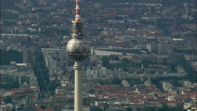 AERIAL View of Berlin with Fernsehturm (television tower) in foreground, Brandeburg, Germany
