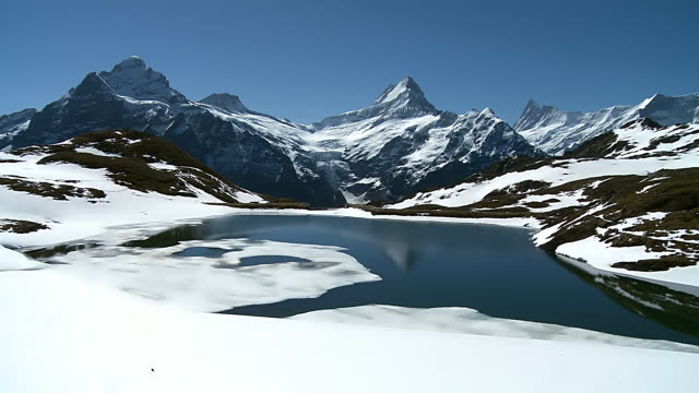 ws view of bernese alps mountain range / grindelwald, bernese oberland, switzerland - snowcapped mountain stock videos and b-roll footage