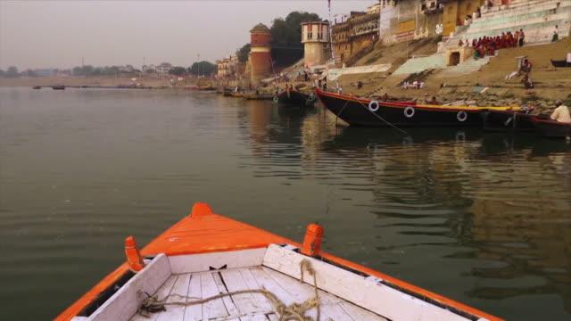 view of bhadaini and janaki ghats, varanasi, ganga - push in stock videos & royalty-free footage