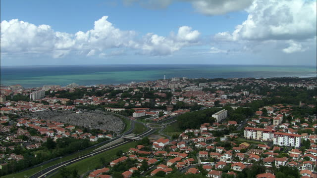 aerial, view of biarritz, aquitaine, france - aquitaine stock-videos und b-roll-filmmaterial