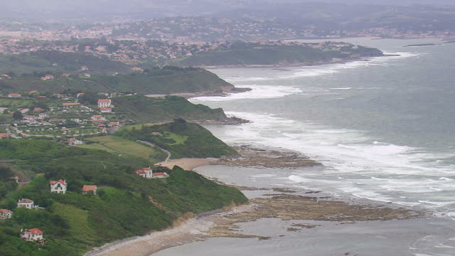 WS AERIAL ZO View of Biarritz city on bay of Atlantic coast / Aquitaine, France