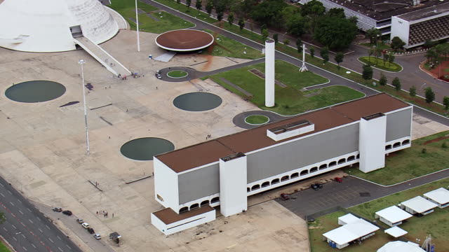 ws aerial view of biblioteca nacional de / brasilia, brazil - biblioteca stock videos and b-roll footage