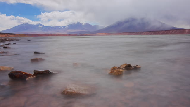 ws pan t/l view of big salty lagoon (laguna verde) and clouds and stones - atacama region stock videos & royalty-free footage