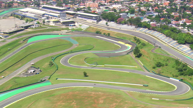 Circuit Interlagos : Ws aerial view of bike rider in interlagos circuit sao paulo brazil