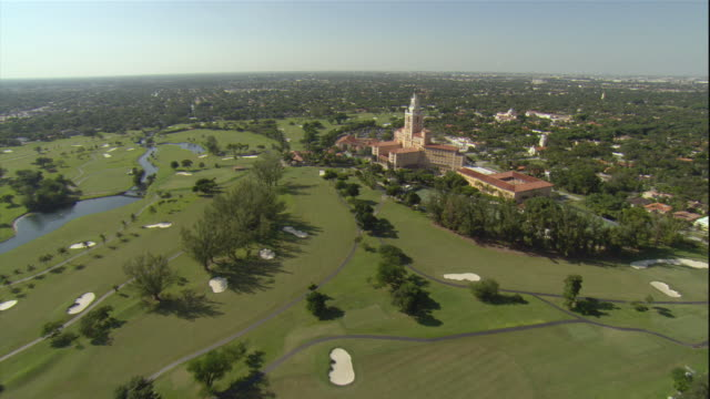 ws pov aerial view of biltmore golf resort / miami, florida, usa - tourist resort stock videos & royalty-free footage