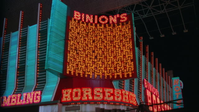 ws view of 'binion's horseshoe casino' / las vegas, nevada, usa - horseshoe stock videos and b-roll footage