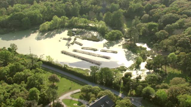 ws aerial view of bird city bird sanctuary in iberia parish / louisiana, united states - sanctuary city stock videos & royalty-free footage