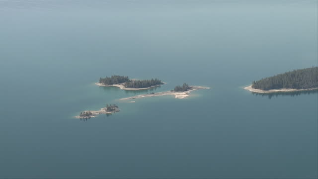 aerial ws view of bird island in flathead lake in montana / flathead, montana, usa - flathead lake stock videos and b-roll footage
