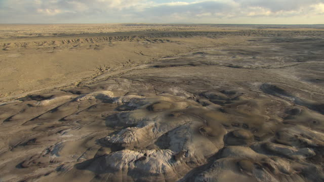 WS AERIAL View of Bisti Badlands wilderness area in San Juan County / New Mexico, United States