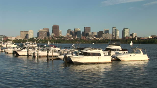 view of boats anchored in boston united states - anchored stock videos & royalty-free footage