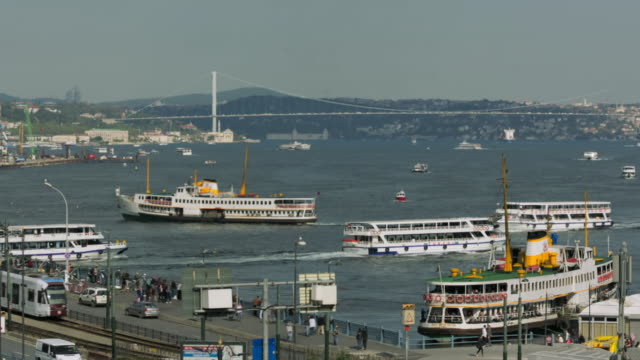 view of boats and bridges of the golden horn, istanbul - bosphorus stock videos & royalty-free footage