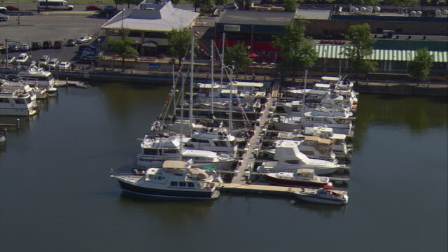 ws aerial zo view of boats docked in washington channel / washington, dist. of columbia, united states - pier stock videos & royalty-free footage
