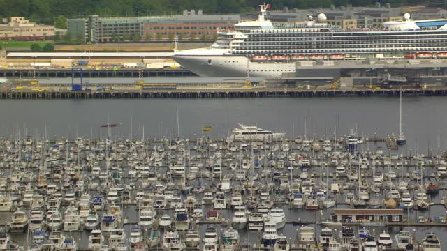 ws aerial view of boats in elliott bay marina in front of cruise ship / seattle, washington, united states - elliott bay bildbanksvideor och videomaterial från bakom kulisserna