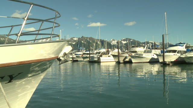 """view of boats in seward small boat harbor, cu of boat's bow in foreground, with rocky mountain top in chugach national forest, with partial snow, seward, kenai peninsula, alaska, blue skies."" - kenai stock videos & royalty-free footage"