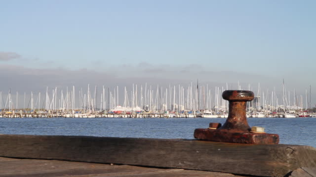 WS View of boats moored from dock / Melbourne, Victoria, Australia