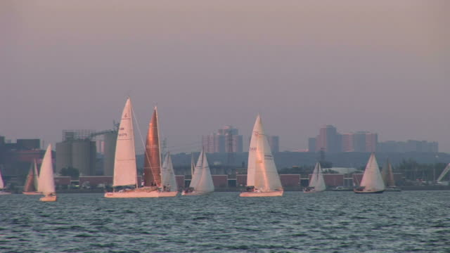 vidéos et rushes de view of boats sailing on ontario lake in toronto canada - aller tranquillement