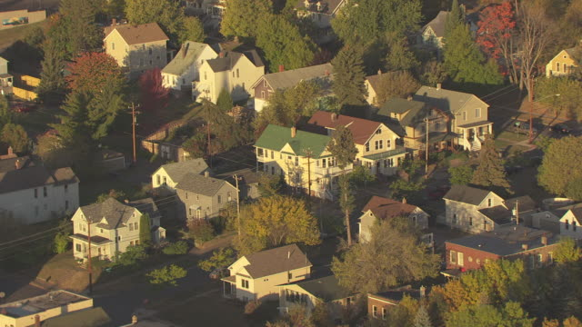 WS AERIAL ZI View of Bob Dylan childhood home / Duluth, Minnesota, United States