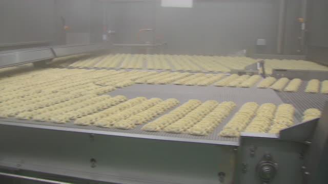 View of boiling the dumplings at an instant dumpling factory