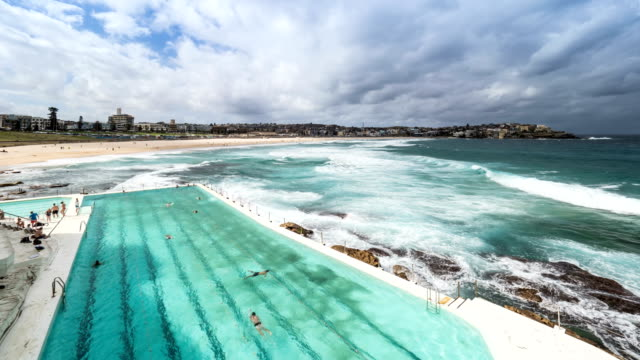 View of Bondi Beach Iceberg club (Sydney) and South Pacific Ocean