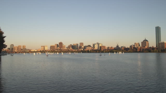 WS View of Boston from Charles river at dusk / Boston, Massachusetts, USA