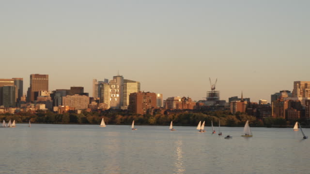 WS PAN View of Boston from Charles river at dusk / Boston, Massachusetts, USA