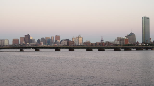 ws view of boston from charles river / boston, massachusetts, usa - charles river stock videos & royalty-free footage