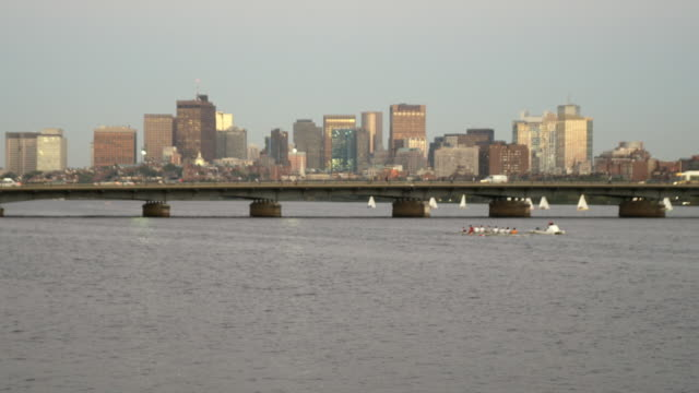 ws view of boston from charles river / boston, massachusetts, usa - river charles stock videos & royalty-free footage