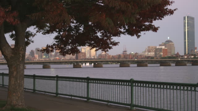 ws view of boston from charles river in park / boston, massachusetts, usa - river charles stock videos & royalty-free footage
