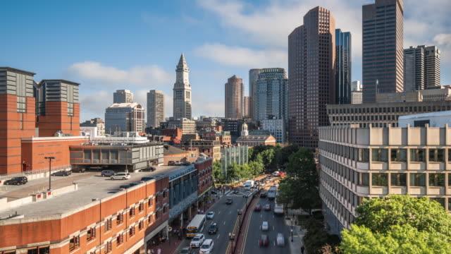 t/l ws td view of boston skyline and traffic / boston, usa - boston massachusetts stock videos & royalty-free footage