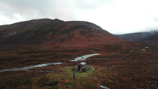 AERIAL view of bothy in the Northern Reaches of the Cairngorms
