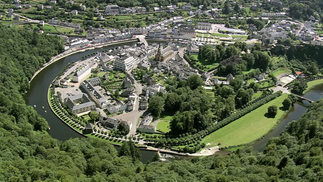 MS ARIAL ZI PAN DS View of Boullion Castle in small town near river / Walloon Region, Belgium