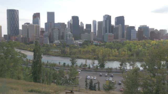 View of Bow River, Prince???s Island Park and Downtown skyline from Sunnyside, Calgary, Alberta, Canada, North America