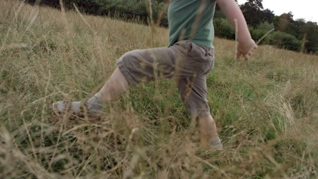 MS TS SLO MO View of boy running and falling through long grass field
