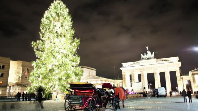 MS T/L View of Brandenburg gate in Berlin at Christmas / Berlin, Germany