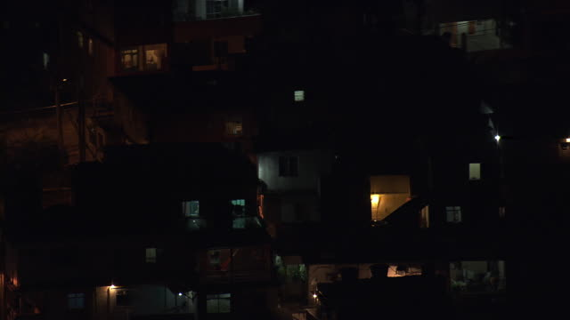 WS AERIAL View of Brazilian favela at night / Rio de Janeiro, Brazil