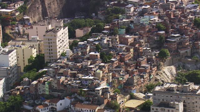 WS AERIAL ZI View of Brazilian favela in Rio de Janeiro / Rio de Janeiro, Brazil