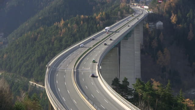 ws view of brenner highway europabrã¼cke bridge / tyrol, austria - brennero stock videos and b-roll footage