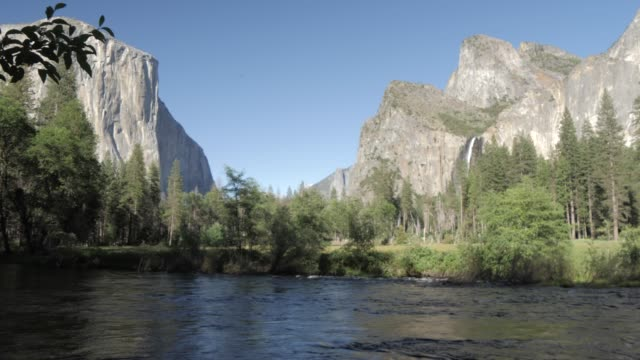 view of bridalveil falls, el capitan and merced river, yosemite national park, unesco world heritage site, california, united states of america, north america - river merced stock videos & royalty-free footage
