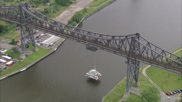 aerial ws view of bridge / kiel canal, schleswig-holstein, germany - schleswig holstein stock videos & royalty-free footage