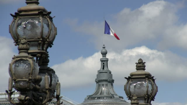 ms view of bridge lamps  and flag on grand palais / paris, ile-de-france, france    - french flag stock videos & royalty-free footage