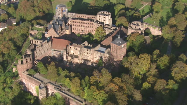 ws aerial zi zo view of bridge on river castle and several other sights / heidelberg, baden wurttemberg - castle stock videos & royalty-free footage