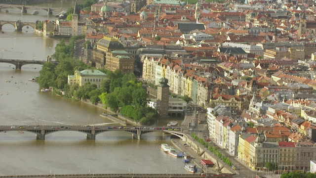 WS AERIAL View of bridge over vitava river / Prague, Czech Republic