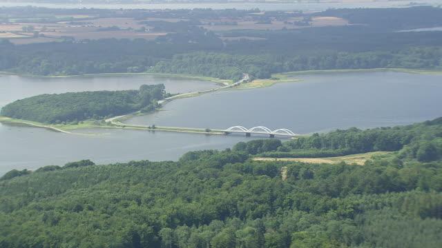 ws aerial view of bridge / sjaelland, denmark - hd format stock-videos und b-roll-filmmaterial