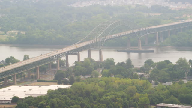 MS AERIAL View of bridge with moving cars / New York City