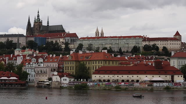 view of bridges on the vltava river and historical center of prague - traditionally czech stock videos & royalty-free footage