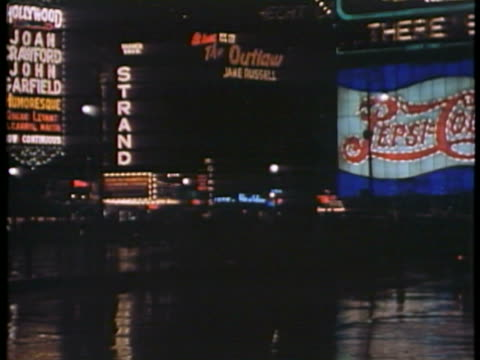 WS PAN T/L View of Broadway with Times Square Neon and movie marquees / New York City, New York, USA.