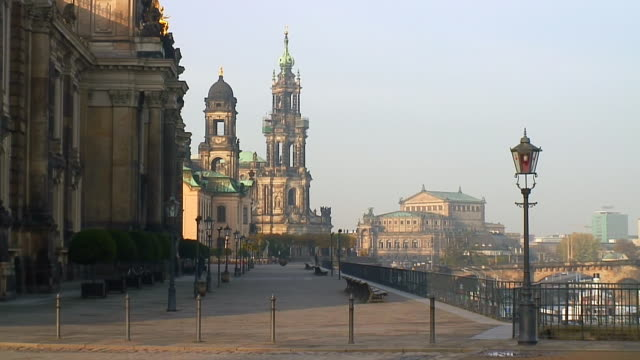 ws view of bruhlsche terrasse, hofkirche, semperoper / dresden, saxony, germany - hofkirche stock videos & royalty-free footage