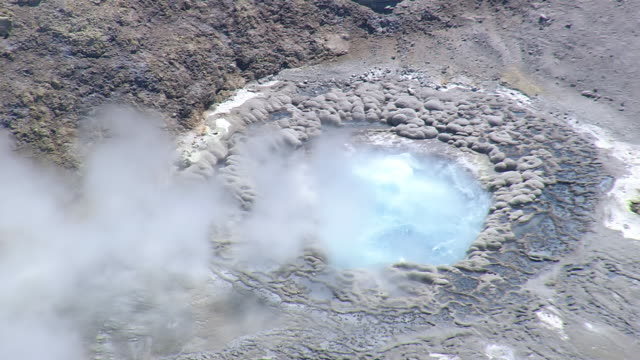 ws aerial zi view of bubbling pool / wyoming, united states - boiling stock videos and b-roll footage