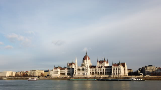 view of budapest parliament in hungary - cultura ungherese video stock e b–roll