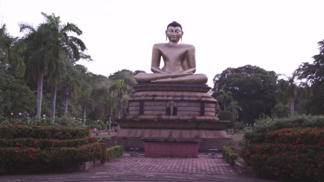 ms view of buddha statue / colombo, sri lanka - sri lankan culture stock videos & royalty-free footage